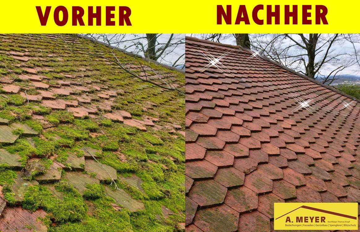 Dach-Reinigung, Dach reinigen lassen, Dach Moos entfernen, Dach flicken